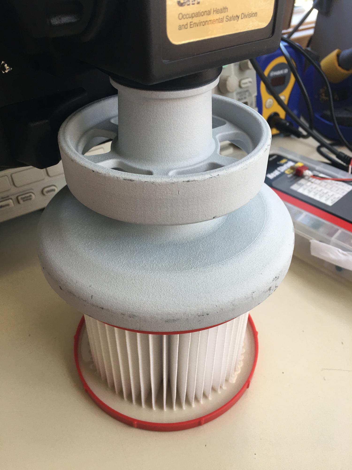HP printed PAPR filter adapter