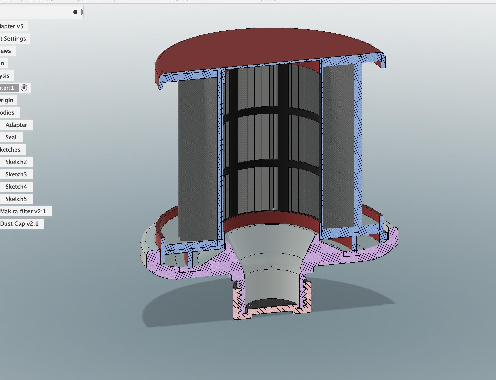 First attempt at filter adapter CAD